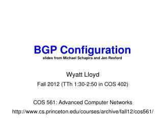 Wyatt Lloyd Fall 2012 (TTh 1:30-2:50 in COS 402) COS 561: Advanced Computer Networks