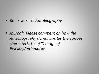 Ben Franklin�s  Autobiography