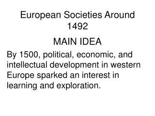 European Societies Around 1492