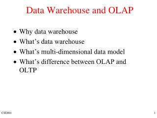 Data Warehouse and OLAP