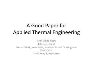 A Good Paper for  Applied Thermal Engineering