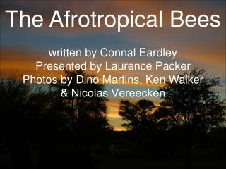The Afrotropical Bees written by Connal Eardley Presented by Laurence Packer