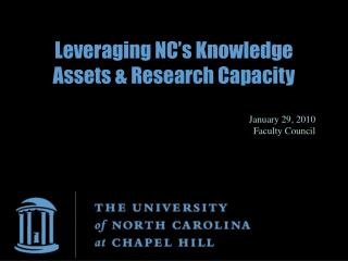 Leveraging NC's Knowledge Assets & Research Capacity