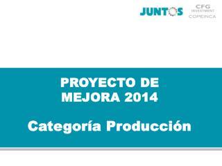 PROYECTO DE  MEJORA 2014 Categor�a Producci�n
