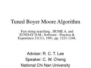 Tuned Boyer Moore Algorithm