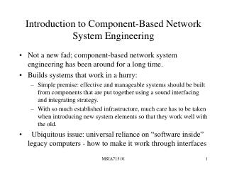 Introduction to Component-Based Network System Engineering