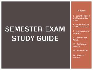 Semester Exam  Study Guide