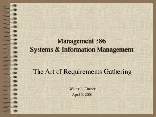 Management 386 Systems  Information Management