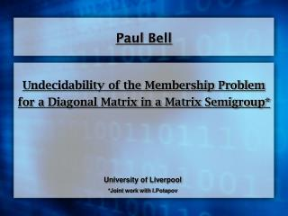 Undecidability of the Membership Problem for a Diagonal Matrix in a Matrix Semigroup*