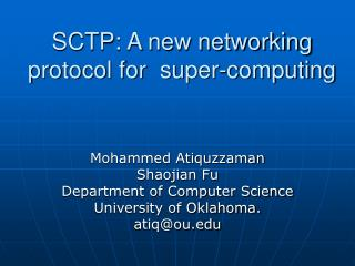 SCTP: A new networking protocol for  super-computing
