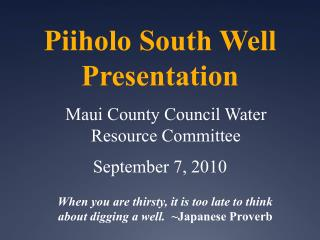 Piiholo South Well Presentation