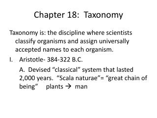 Chapter 18:  Taxonomy