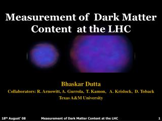 Measurement of  Dark Matter Content  at the LHC