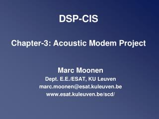 DSP-CIS  Chapter-3: Acoustic Modem Project