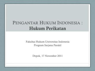 Pengantar Hukum  Indonesia  : Hukum Perikatan