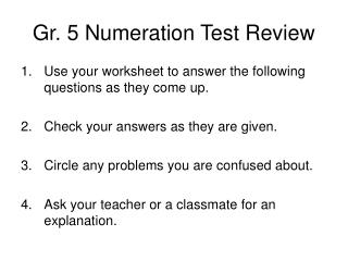 Gr. 5 Numeration Test Review