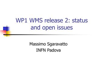 WP1 WMS release 2: status and open issues