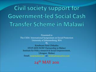 Civil society support for Government-led Social Cash Transfer Scheme in Malawi