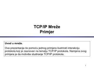 TCP/IP  Mreže Primjer