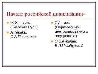 Начало российской цивилизации-