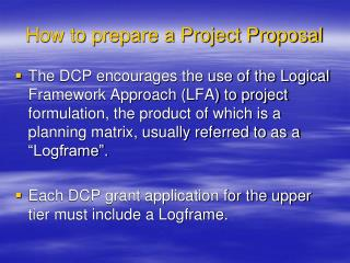 How to prepare a Project Proposal