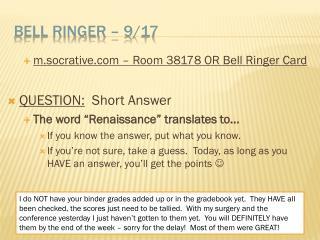 Bell Ringer –  9/17