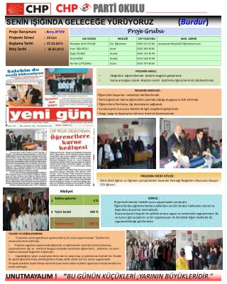 Proje Danışmanı         :  Barış AYTEN Projenin Süresi           :   20  Gün
