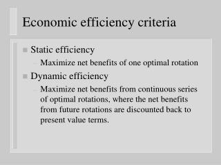Economic efficiency criteria