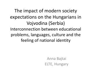 Anna Bajtai ELTE, Hungary
