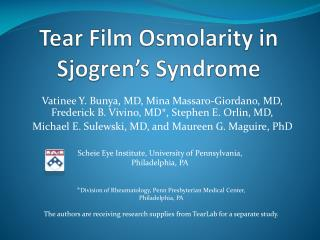 Tear Film Osmolarity in Sjogren's Syndrome