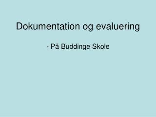 Dokumentation og evaluering