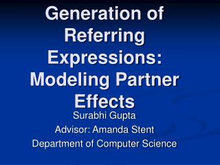 Generation of Referring Expressions: Modeling Partner Effects