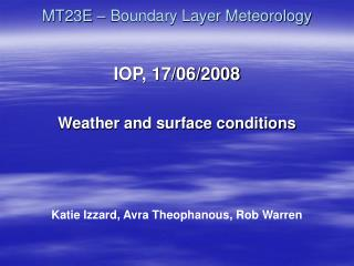 MT23E – Boundary Layer Meteorology