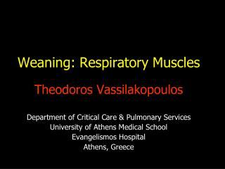 Weaning: Respiratory Muscles