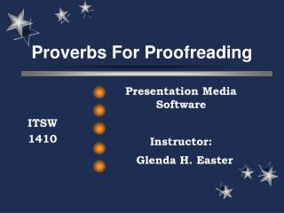 Proverbs For Proofreading