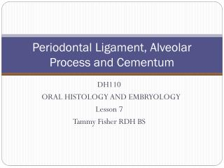 Periodontal Ligament, Alveolar Process and Cementum
