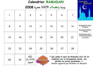 Calendrier  RAMADAN