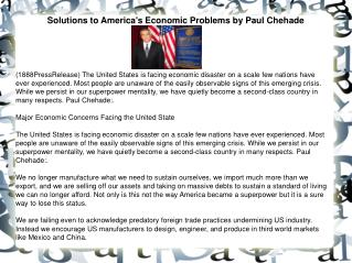 Solutions to America's Economic Problems by Paul Chehade