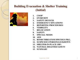 Building Evacuation & Shelter Training  (Initial)