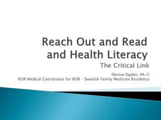 Reach Out and Read and Health Literacy