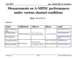 Measurements on A-MPDU performances under various channel conditions