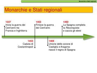 Monarchie e Stati regionali