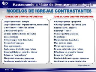 MODELOS DE  IGREJAS CONTRASTANTES