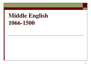 Middle English 1066-1500
