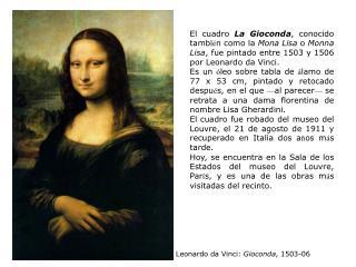 Leonardo da Vinci:  Gioconda , 1503-06
