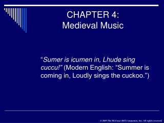 CHAPTER 4: Medieval Music