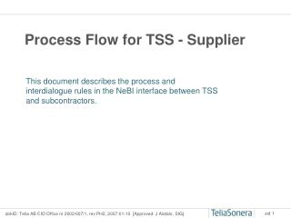 Process Flow for TSS - Supplier