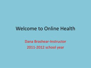 Welcome to Online Health