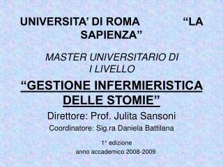MASTER UNIVERSITARIO DI                    I LIVELLO