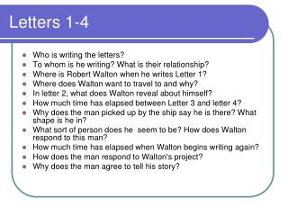 Letters 1-4